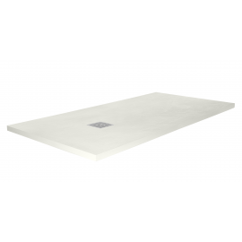 Plato de ducha ARDESIA 3949, ancho de 80 cm, largo de 140 cm, en color crema, Resina carga mineral