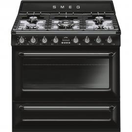 Cocina con horno eléctrico Smeg TR90BL9, Más de 4 zonas, Negro