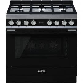 Cocina a gas SMEG CPF9GMBL,90x 60cm, Negro, Encimera a gas, 6zonas de coccióa