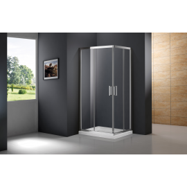 Mampara de ducha PRESTIGE 0203+0313 apertura al vertice 2 fijos + 2 corrs , transparente