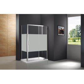 Mampara de ducha PRESTIGE FROST PLUS 0272+0817 frontal 1 fijo+ 1corr+lateral fijo , serigrafiado