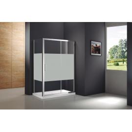 Mampara de ducha PRESTIGE FROST PLUS 0272+0818 frontal 1 fijo+ 1corr+lateral fijo , serigrafiado