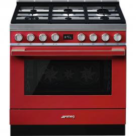 Cocina con horno eléctrico SMEG CPF9GMR, Más de 4 zonas, Rojo Clase A+