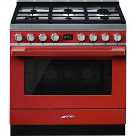 Cocina con horno eléctrico SMEG CPF9GPR, Más de 4 zonas, Rojo Clase A+