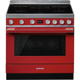 Cocina con horno eléctrico SMEG CPF9IPR, Más de 4 zonas, Rojo Clase A+
