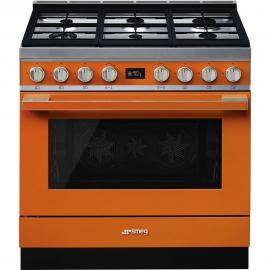 Cocina con horno eléctrico SMEG CPF9GMOR, Más de 4 zonas, Naranja Clase A+