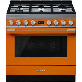Cocina con horno eléctrico SMEG CPF9GPOR, Más de 4 zonas, Naranja Clase A+