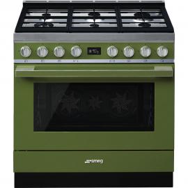 Cocina con horno eléctrico SMEG CPF9GMOG, Más de 4 zonas, Verde agua Clase A+