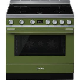 Cocina con horno eléctrico SMEG CPF9IPOG, Más de 4 zonas, Verde agua Clase A+