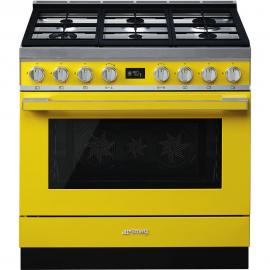 Cocina con horno eléctrico SMEG CPF9GMYW, Más de 4 zonas, Amarillo Clase A+