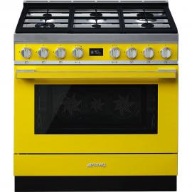 Cocina con horno eléctrico SMEG CPF9GPYW, Más de 4 zonas, Amarillo Clase A+