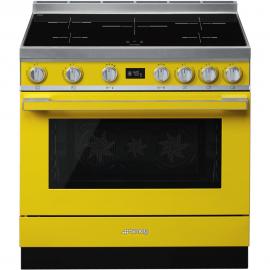 Cocina con horno eléctrico SMEG CPF9IPYW, Más de 4 zonas, Amarillo Clase A+