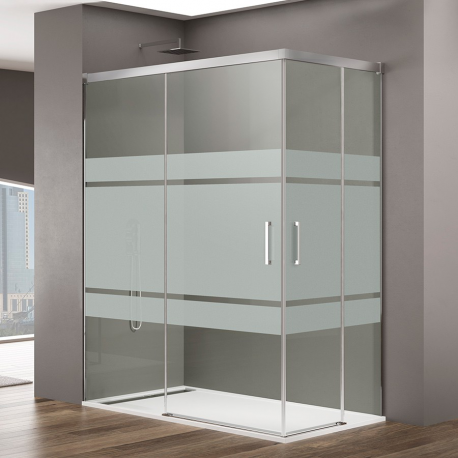Mampara de ducha  BASIC 5021+5018+5423 , transparente 2 puerta abatibles + fijo