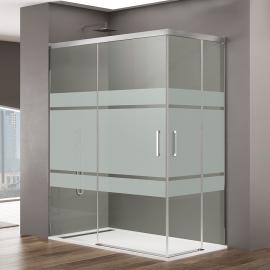 Mampara de ducha  BASIC 6021+6019+5423 ,Al Vertice, FROST PLUS2 puerta abatib