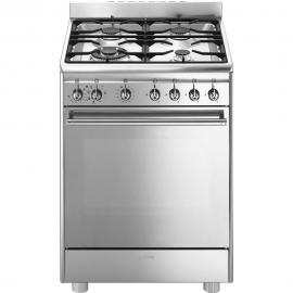 Cocina a gas SMEG CX68MF82, 4 zonas, Inoxidable