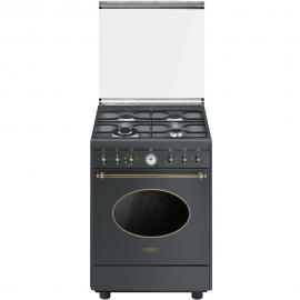Cocina con horno eléctrico 4 zonas SMEG CO68GMA8, Antracita