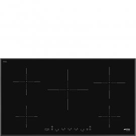 Encimera inducción SMEG SI5952B, 5 zonas, Negro, acabado biselado Zona Gigante